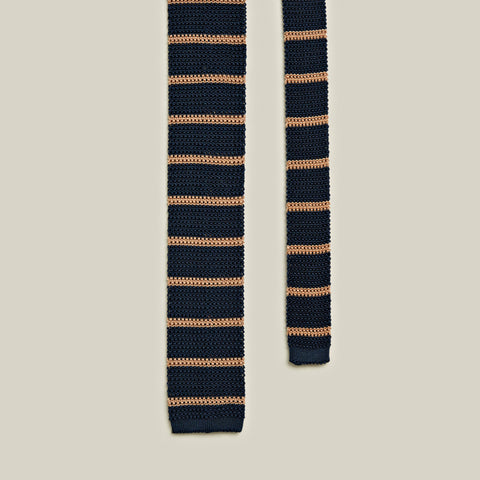 Knitted Silk Striped Tie, Navy/Beige