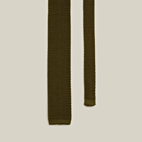 Knitted Silk Tie, Olive