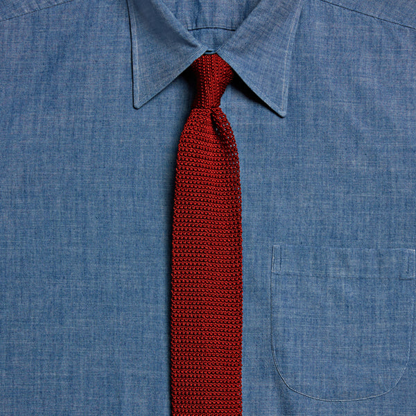 Knitted Silk Tie, Rust
