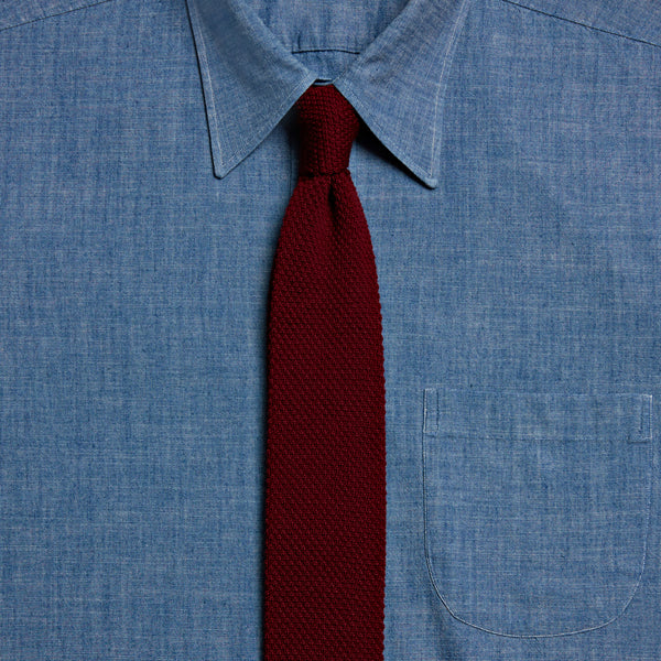 Knitted Wool Tie, Burgundy