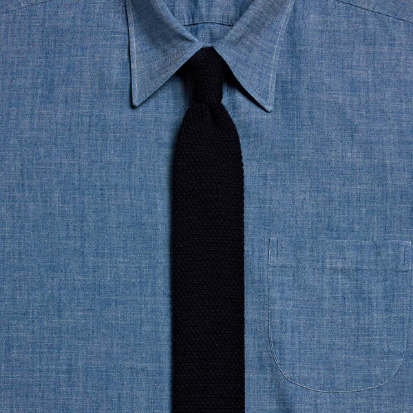Knitted Wool Tie, Dark Navy