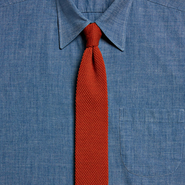 Knitted Wool Tie, Orange