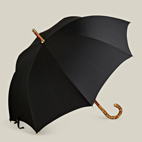 Solid Stick Broom Wood Umbrella, Black