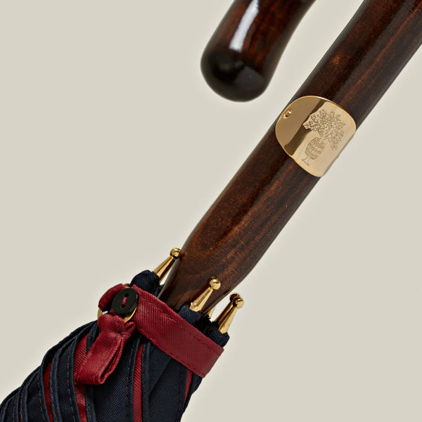 Solid Stick Maple Umbrella, Navy/Red Contrast