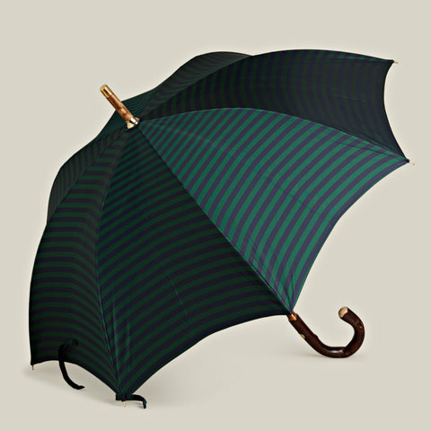 Solid Stick Chestnut Umbrella, Navy/Green Stripe