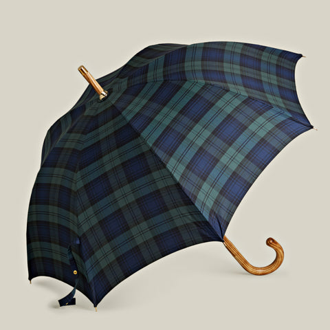 Solid Stick Hickory Umbrella, Black Watch Tartan