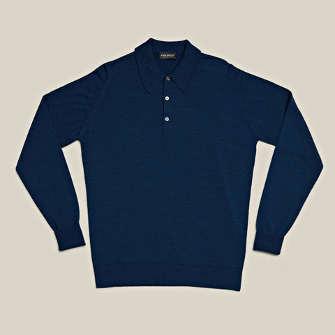 Classic Long Sleeved Merino Polo, Indigo