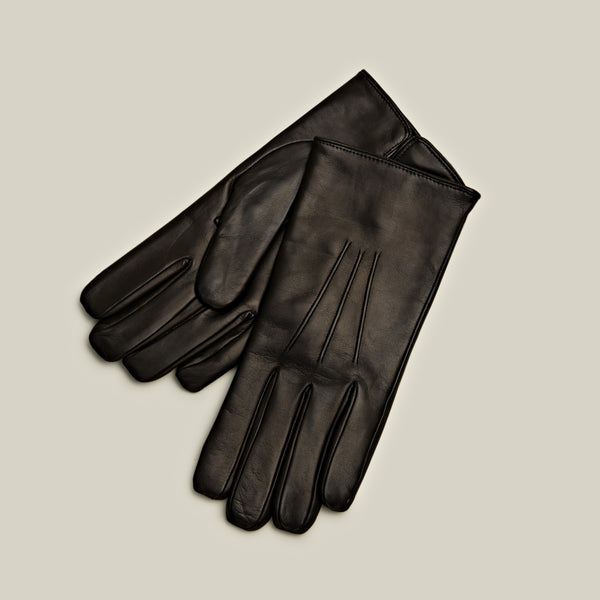 Cashmere Lined Nappa Gloves, Black