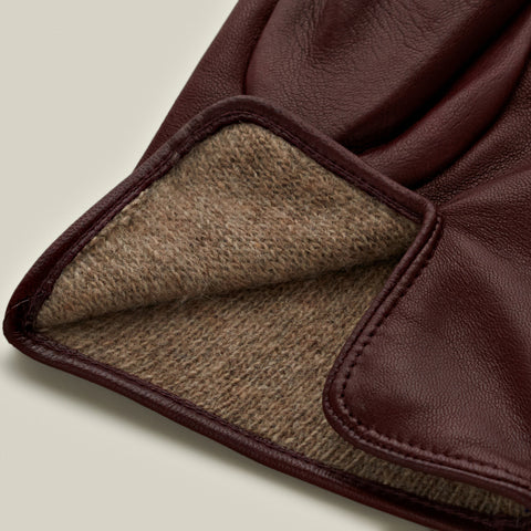 Cashmere Lined Nappa Gloves, Burgundy