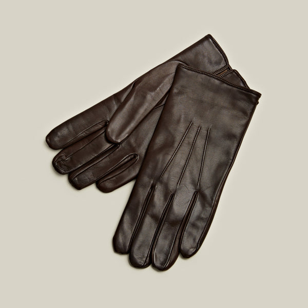 Cashmere Lined Nappa Gloves, Dark Brown
