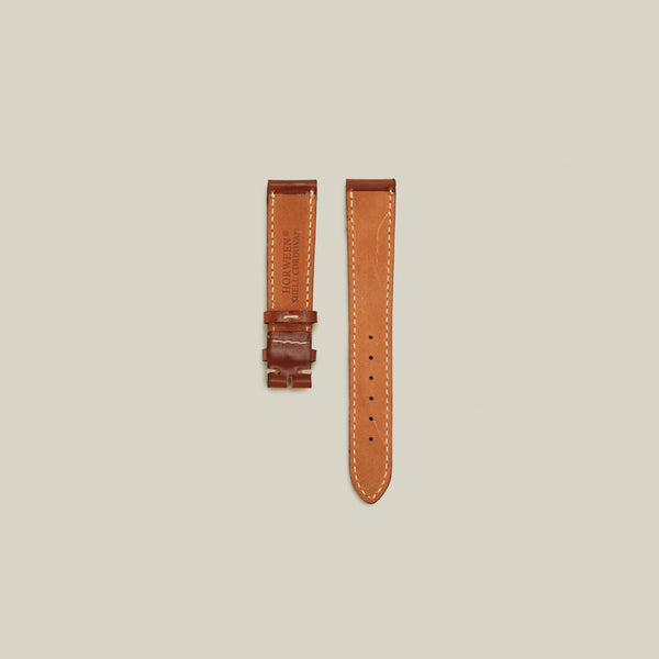 Cordovan Lined Watch Strap, Natural w/ Contrast Stitch