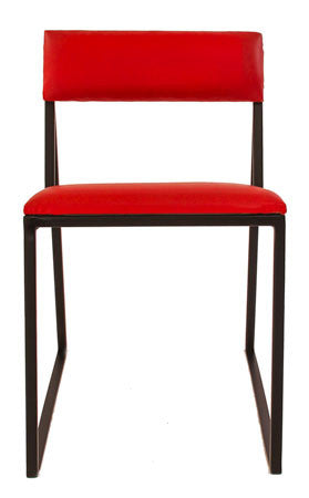 The Admiral - Black Metal Frame with Flame Red Leather Chair