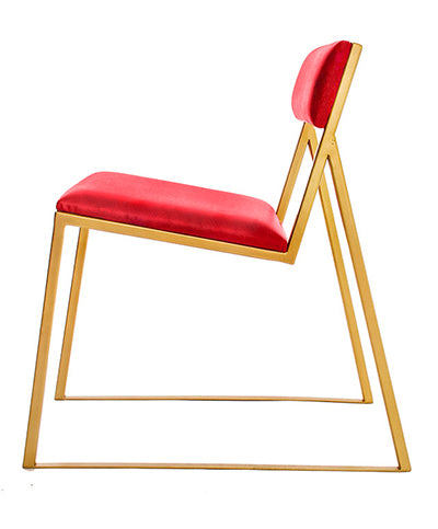 The Admiral - Gold Effect Metal Frame - Flame Red Leather Chair