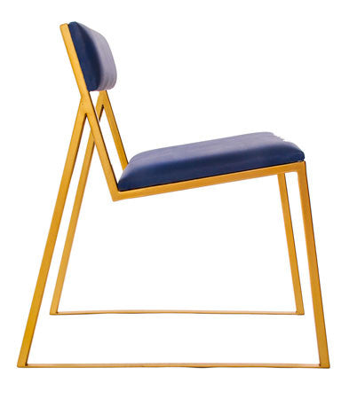 The Admiral - Gold Effect Metal Frame - Kingfisher Blue Leather Chair
