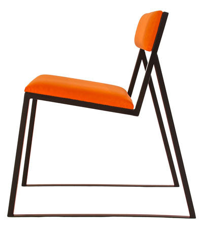 The Admiral Chair - Black Metal Frame with Mandarin Leather Seat