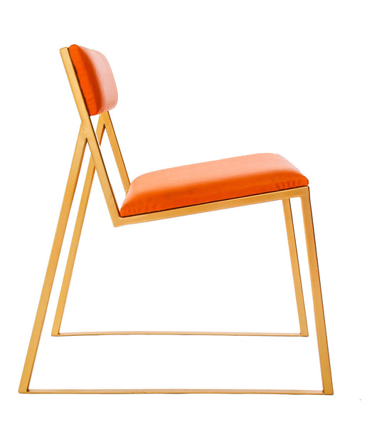 The Admiral - Gold Effect Metal Frame - Mandarin Leather Chair