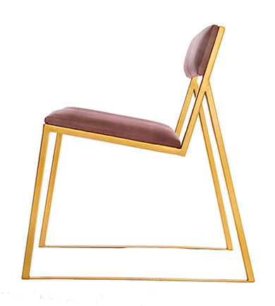 The Admiral - Gold Effect Metal Frame - Mulberry Leather Chair