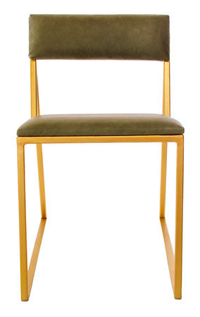 The Admiral - Gold Effect Metal Frame - Olive Leather Chair