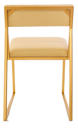 The Admiral - Gold Effect Metal Frame - White Leather Chair