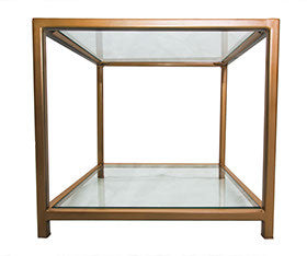 Gold Effect Square Metal Frame Side Table with Glass Top and Bottom Shelves