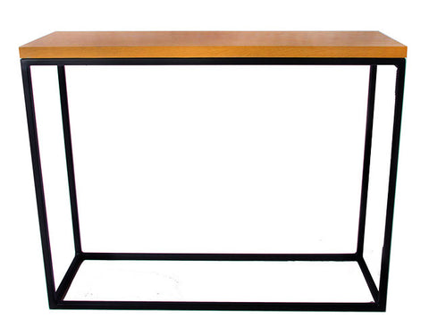 Black Metal Frame with Soild Oak Top Console Table