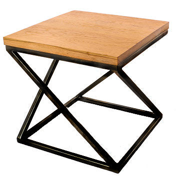 Black 'Z' Frame Metal Side Table with Solid Oak Top