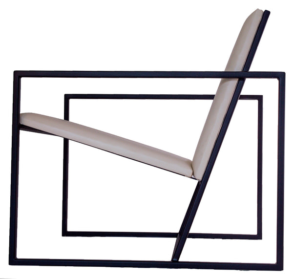 The Gravity Chair - Matt Black Metal Frame with White Leather Seat