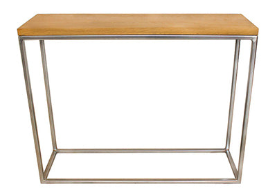 Chrome Effect Metal Frame with Soild Oak Top Console Table