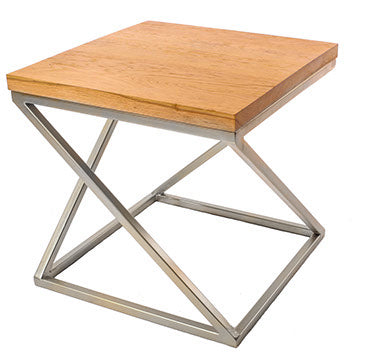 Chrome Effect 'Z' Frame Metal Side Table with Solid Oak Top