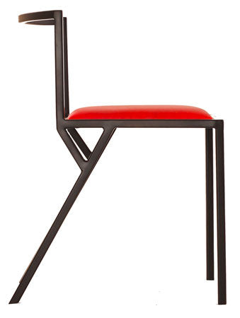 The Classic - Black Metal Frame Flame Red Leather Chair