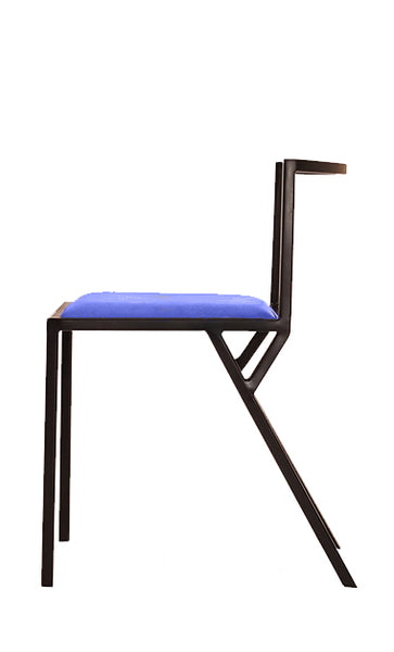 The Classic - Black Metal Frame Kingfisher Blue Leather Chair