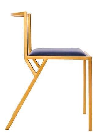 The Classic - Gold Effect Frame Kingfisher Blue Leather Chair