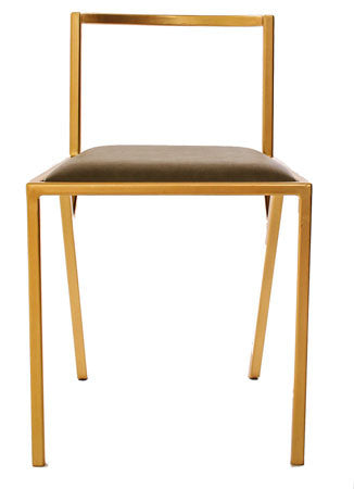 The Classic - Gold Effect Olive Leather Chair