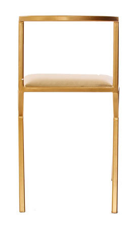 The Classic - Gold Effect White Leather Chair