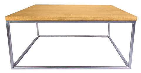 Chrome Effect Metal Frame Coffee Table with Solid Oak Top