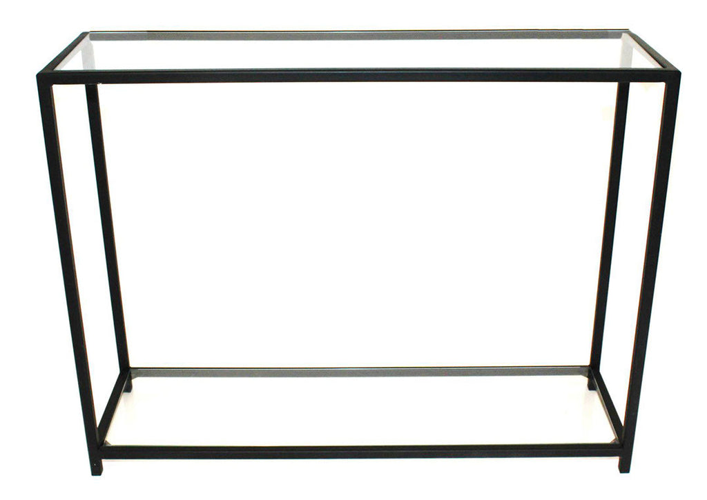 Console Table - Black Metal Frame with Glass Top and Bottom Shelves