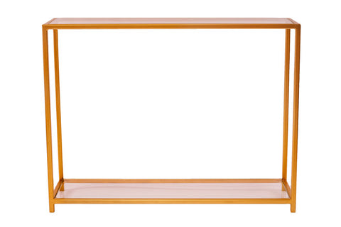 Console Table - Chrome Gold 'Standard' Frame with Glass Top and Bottom Shelves