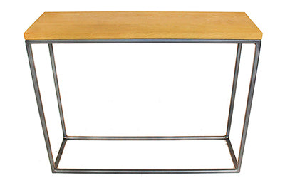 Gun Metal Grey Metal Frame with Solid Oak Top Console Table