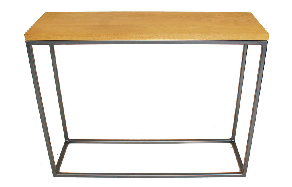 Gun Metal Grey 'Standard' Frame with Soild Oak Top Console Table