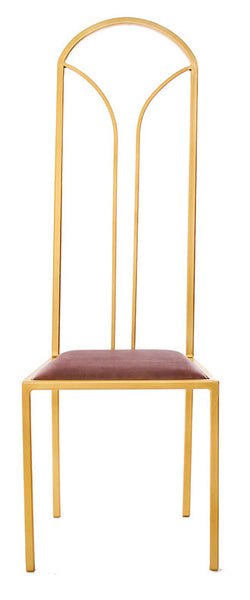 The Consummate - Gold Effect Tall Metal Frame with Mulberry Leather Chair