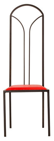 The Consummate - Tall Black Arched Metal Frame with Flame Red Leather Chair