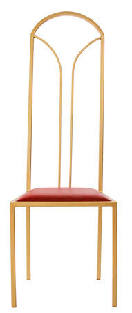 The Consummate - Gold Effect Tall Metal Frame with Flame Red Leather Chair