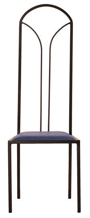 The Consummate - Tall Black Arched Metal Frame with Kingfisher Blue Leather Chair