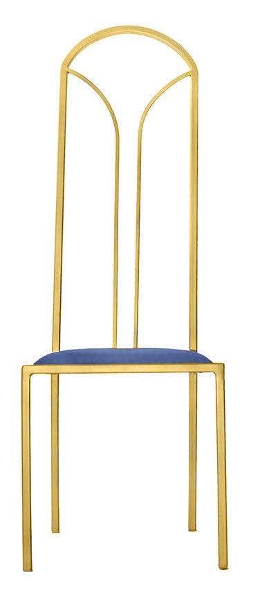 The Consummate - Gold Effect Tall Metal Frame with Kingfisher Blue Leather Chair