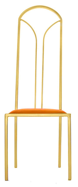 The Consummate - Gold Effect Tall Metal Frame with Mandarin Leather Chair
