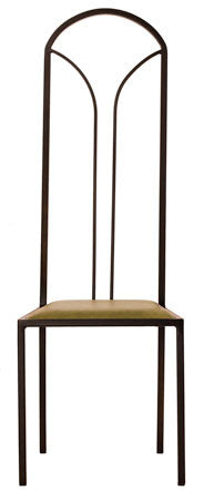 The Consummate - Tall Black Arched Metal Frame with Olive Leather Chair
