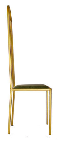 The Consummate - Gold Effect Tall Metal Frame with Olive Leather Chair
