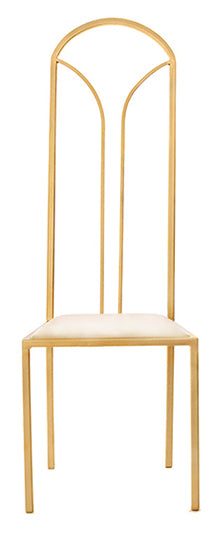 The Consummate - Gold Effect Tall Metal Frame with White Leather Chair