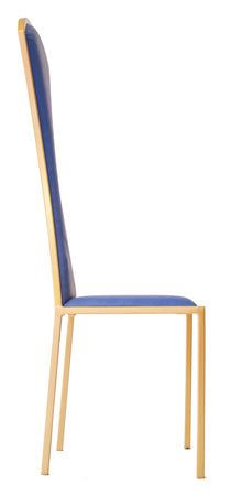 The Contour - Gold Effect Metal Frame with Kingfisher Blue Leather Chair