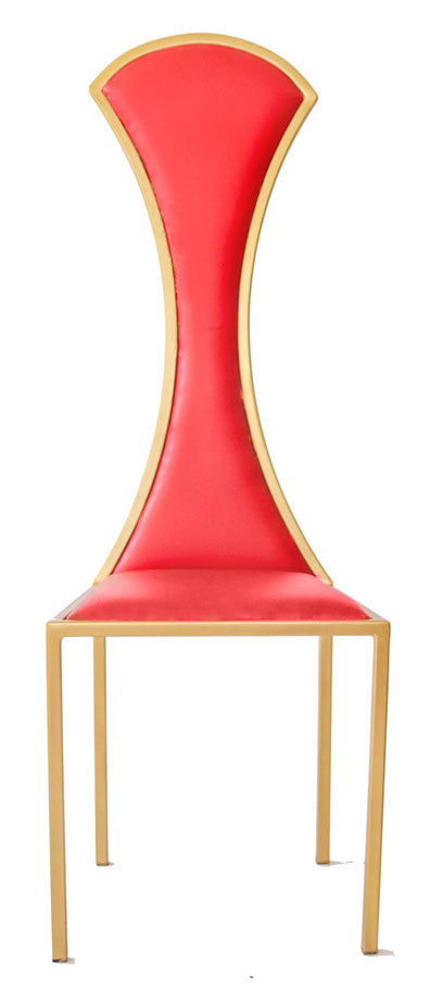 The Contour - Gold Effect Metal Frame with Flame Red Leather Chair